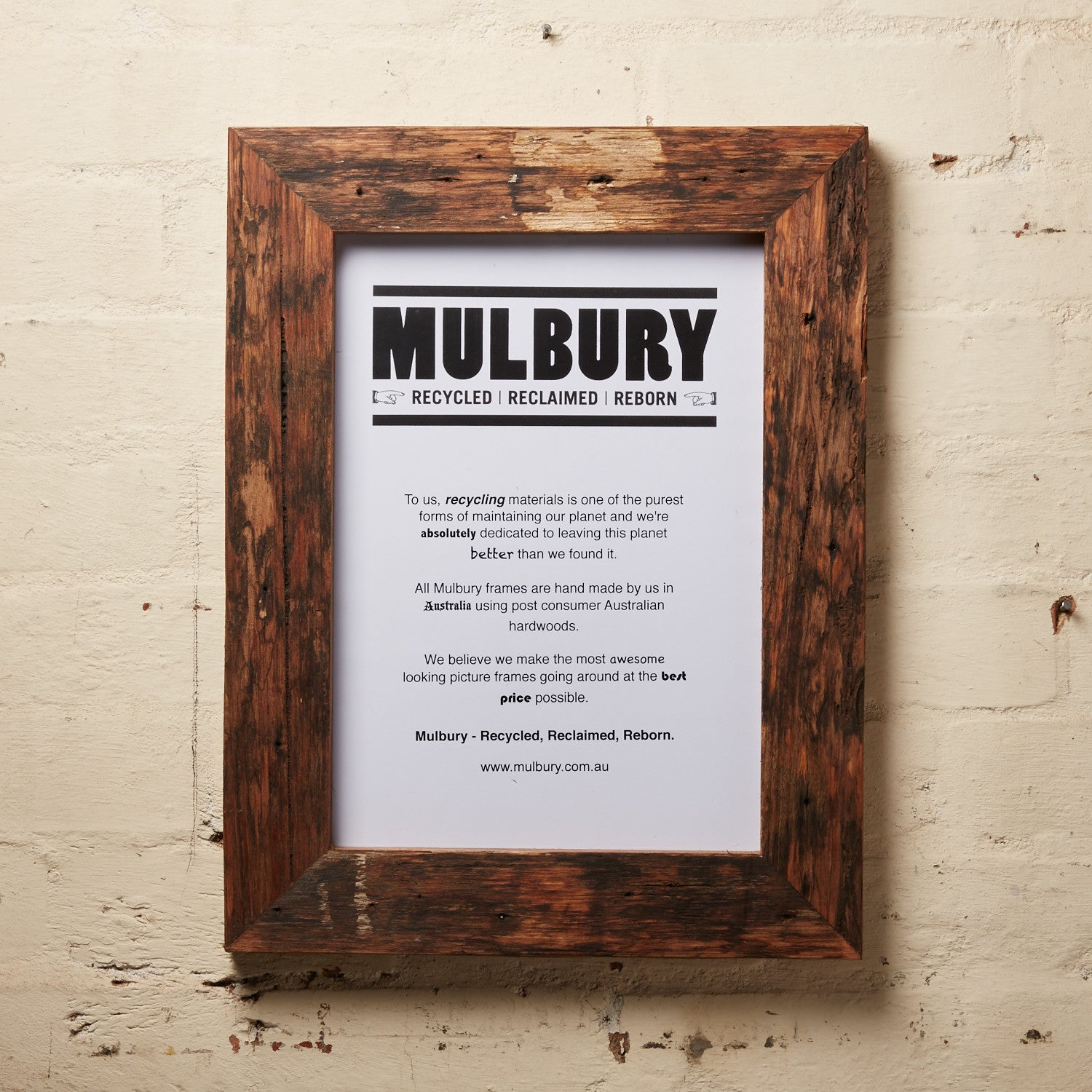 Chunky Oiled, ready made driftwood picture frames by Mulbury