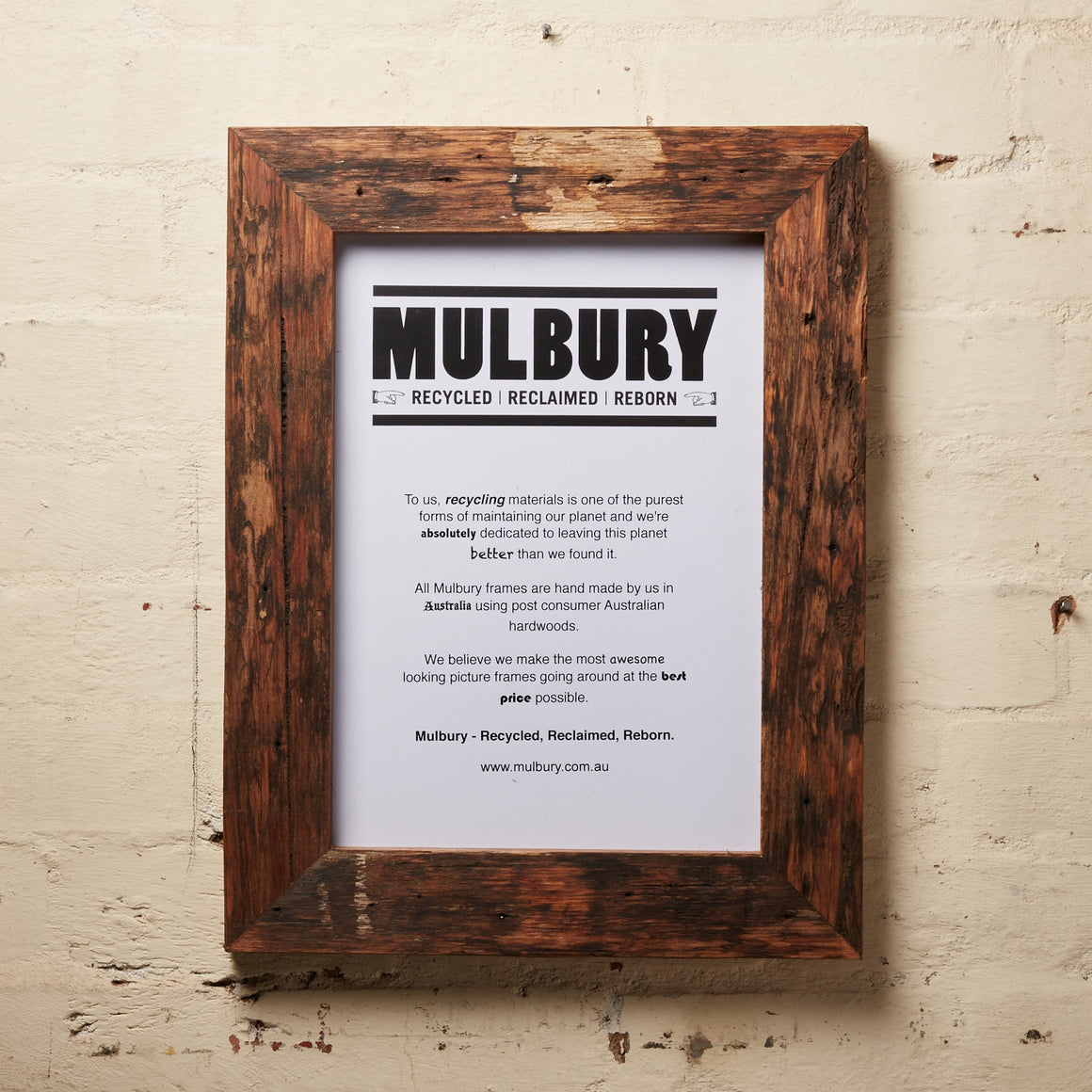 Chunky oiled and upcycled picture frame made by Mulbury