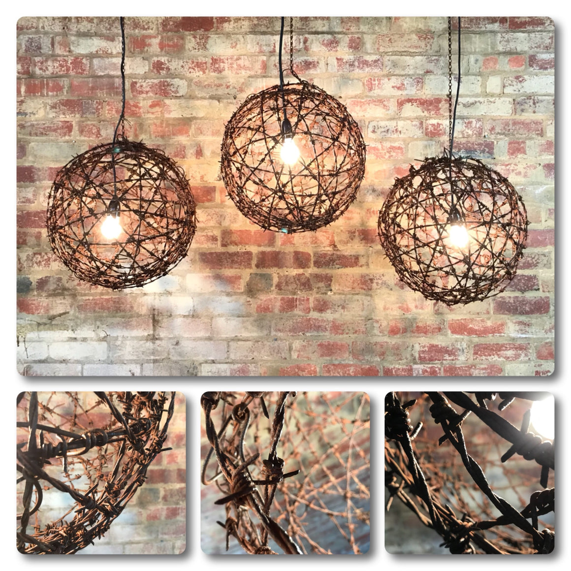 Barbed Wire Ball Light Fitting Rustic Lighting Custom Made Mulbury Wiring A Fixture To Cord