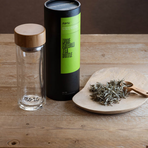 Glass Tea Bottle 300ml & White tea pack