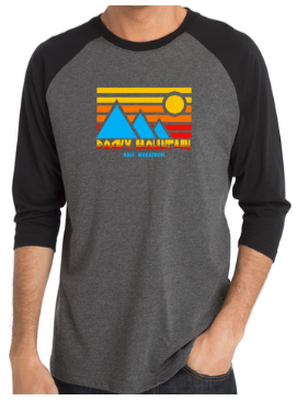 Rocky Mountain Half Retro Blue Mountain Baseball Tee