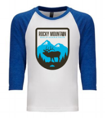 Rocky Mountain Elk Badge YOUTH Baseball T-Shirt
