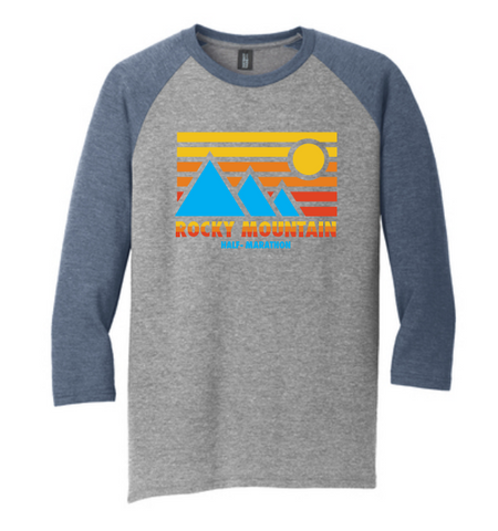 Rocky Mountain Half Retro Blue Mountain Men's Raglan Tee