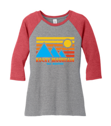 Rocky Mountain Half Retro Blue Mountain Women's Raglan Tee