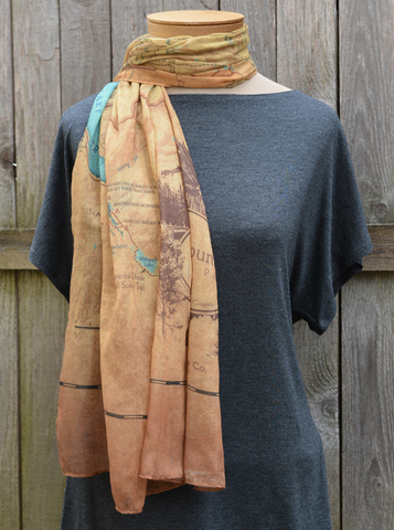 Great Smoky Mountains National Park Vintage Map Scarf