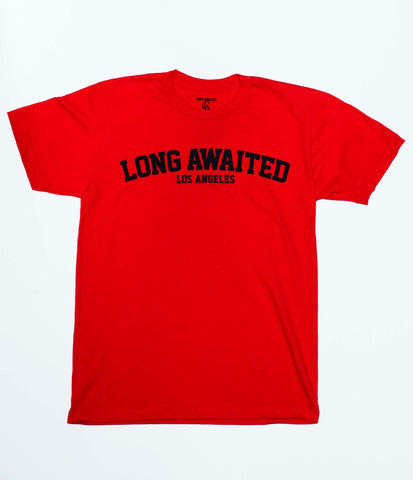 College Tee In Red And Black