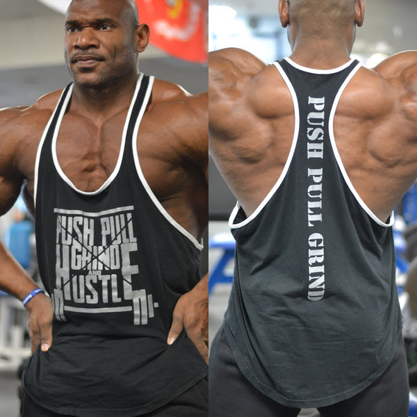 Men's Stringer tank - Push Pull Grind & Hustle