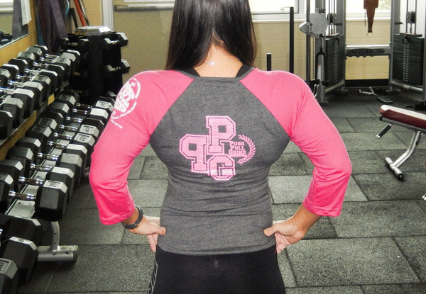 Women's Raglan 3/4 sleeve .. Pink w/ Gray Property  Of Push Pull Grind
