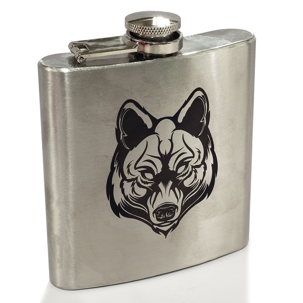 Wolf Engraved Flask