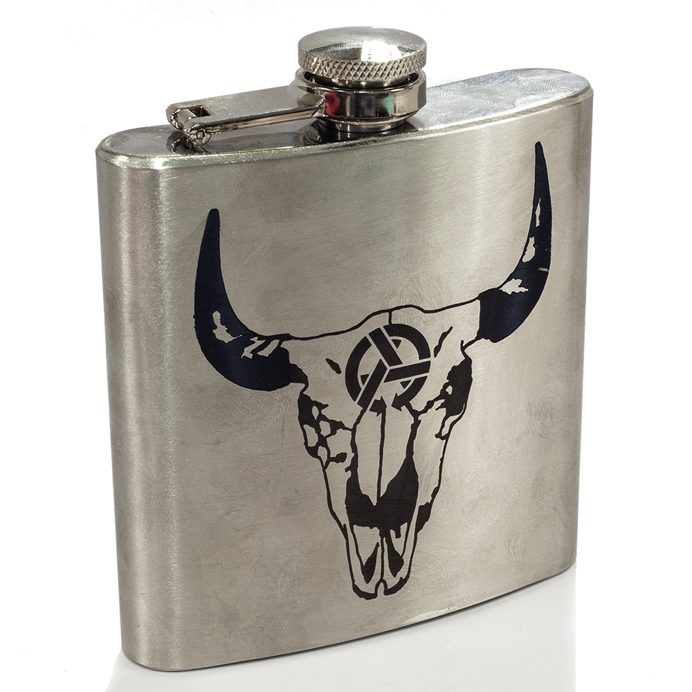 WYO Skull Engraved Flask
