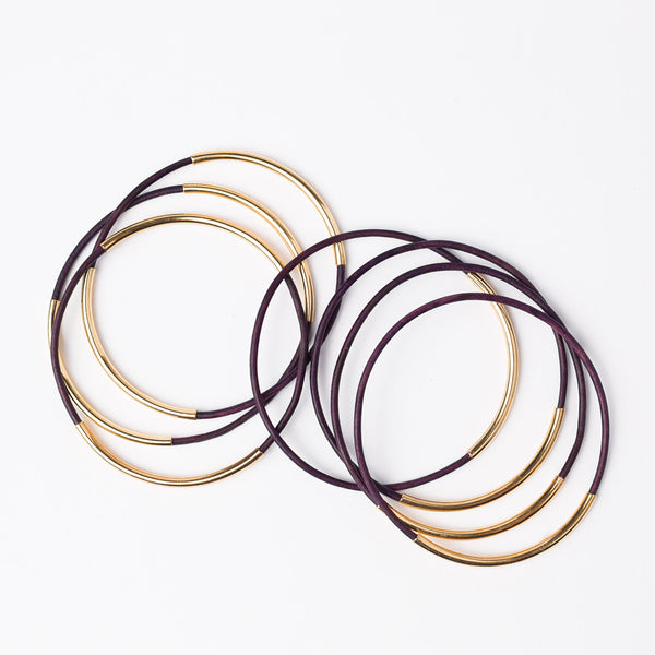 Skinny Leather Bangle Set