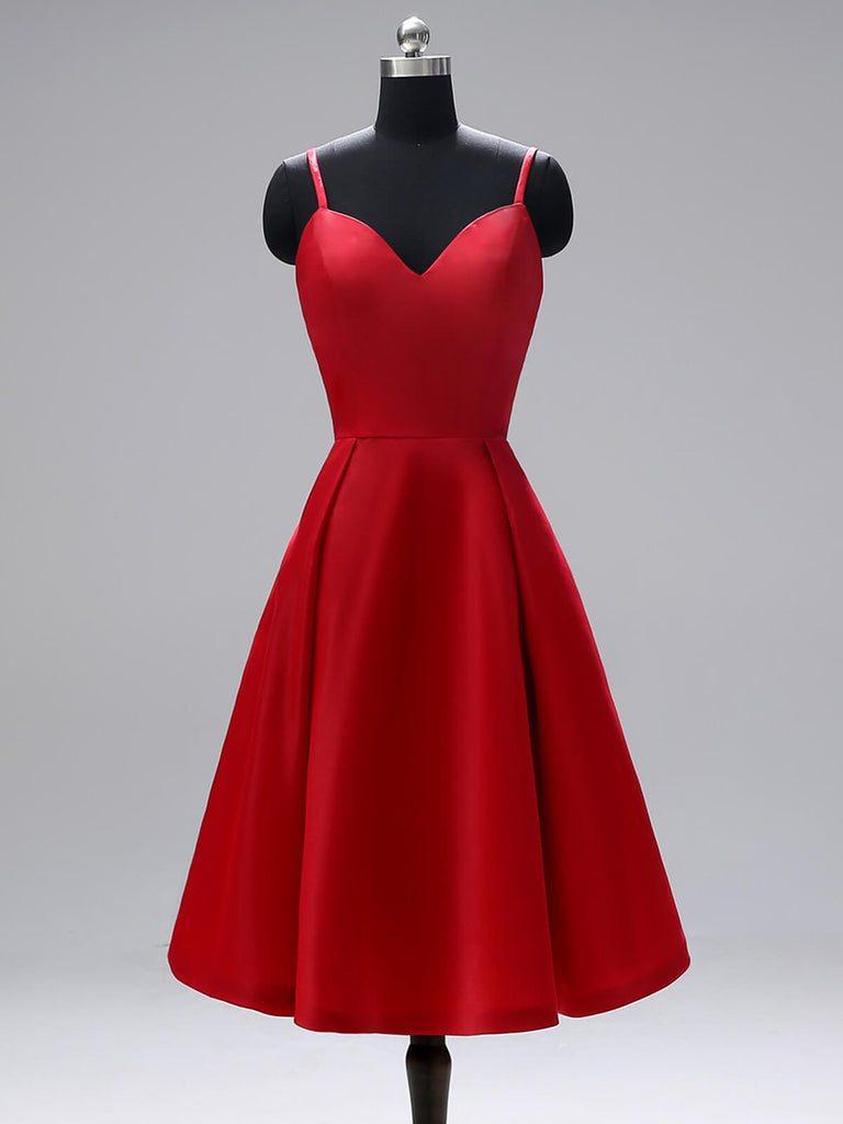 Robe de cocktail rouge à bretelle dos nu