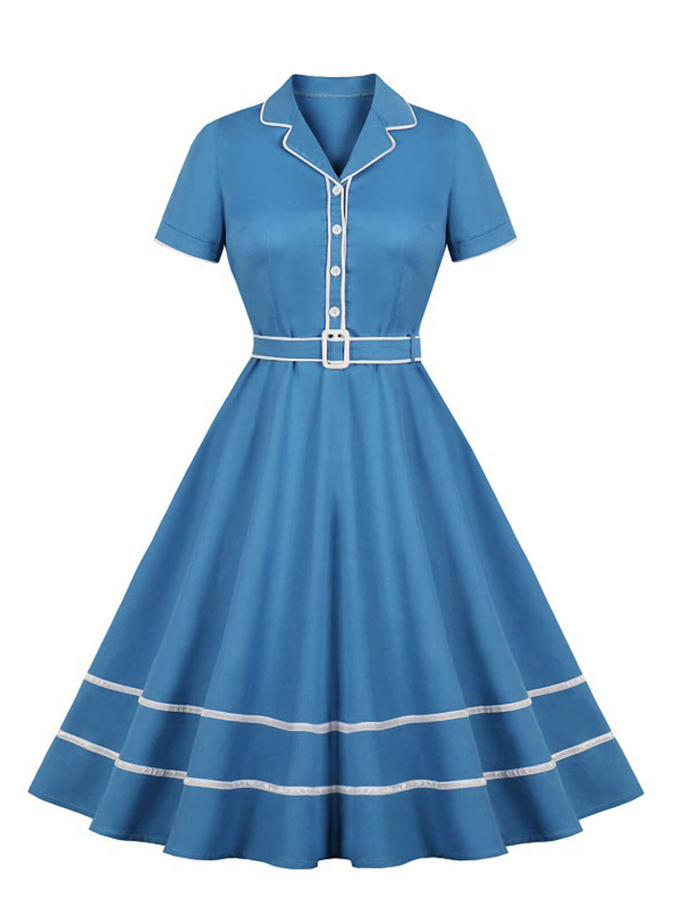Robe Année 50 Col Revers Solide Bleue