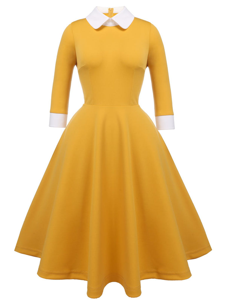 Robe Swing Année 50 Jaune Solide