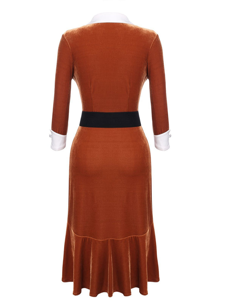 Robe Crayon Année 60 Orange en Velours