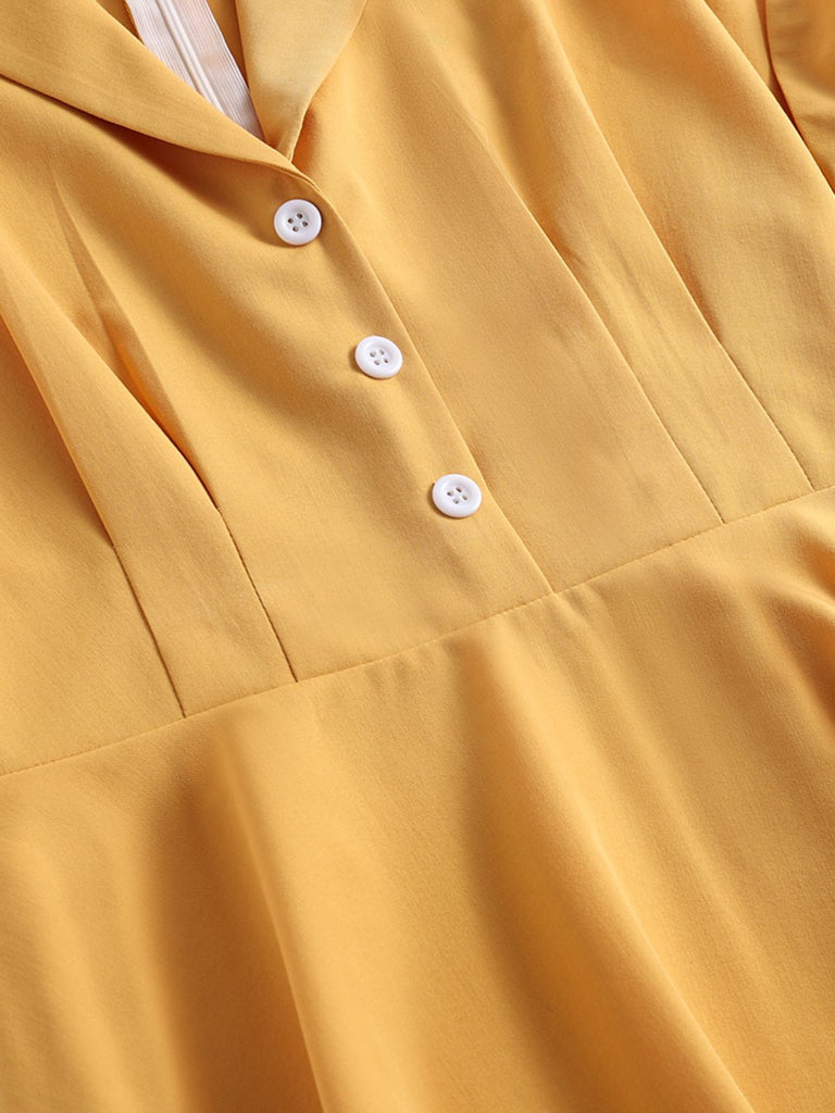 Robe Swing Année 50 Jaune avec Boutons