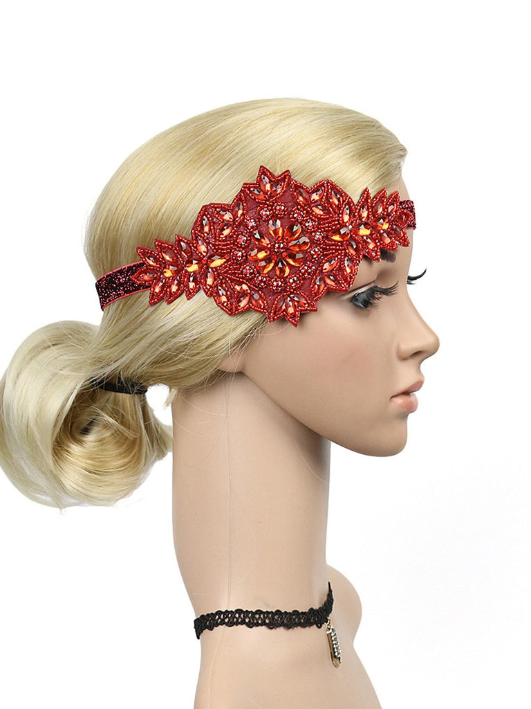 1920s Bandeau Strass Floral