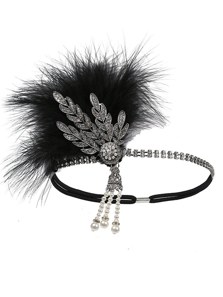 1920s Bandeau Strass Plume Argent