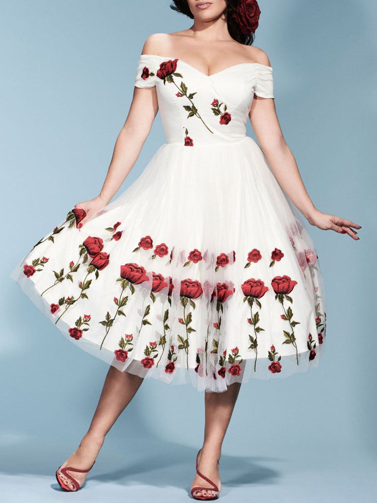 Robe Année 50 Broderie Rose Patchwork Grande Taille