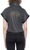Annie Top  - Metallic Charcoal