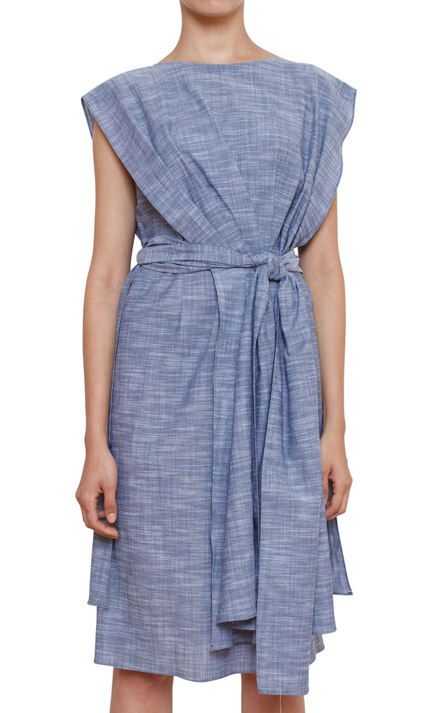 Rhoda Caped Dress - Chambray