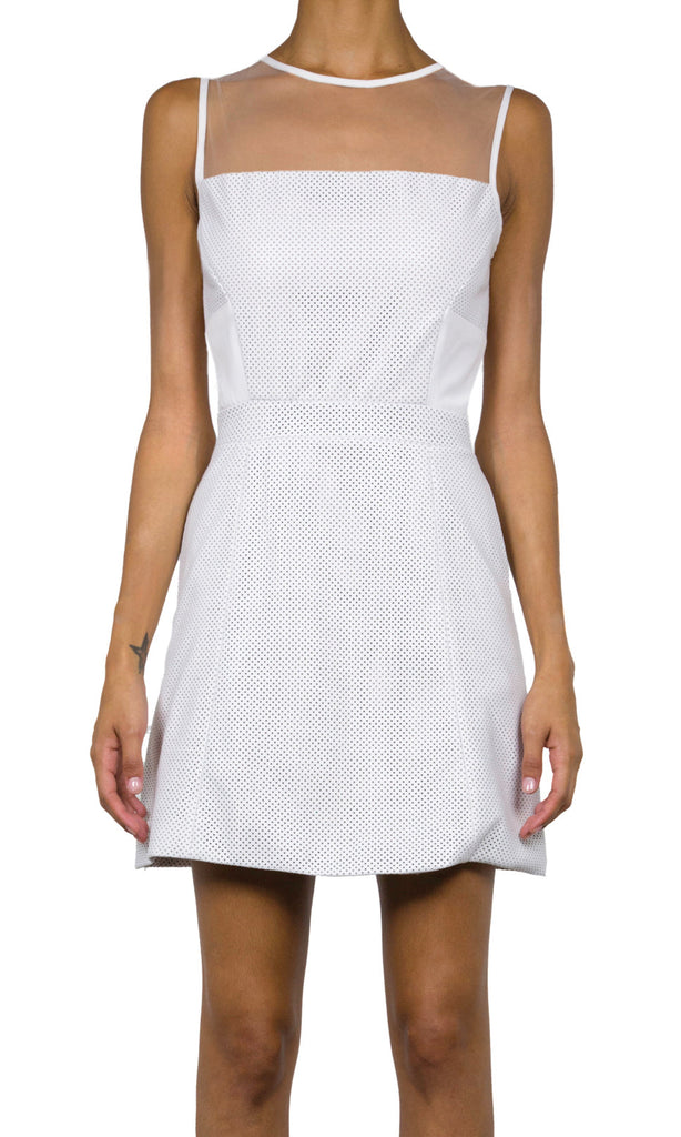 Skylar Perforated Leather Dress - Eggshell