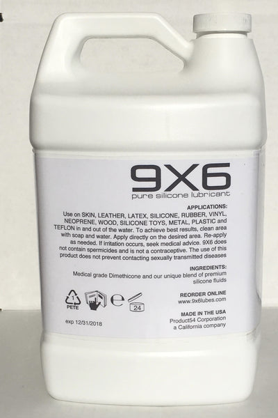 9X6 Pure Silicone Lubricant Lube, 128 Fluid Ounce Refill Bottle - Product54