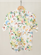 Load image into Gallery viewer, Women's button-up shirt in California map print.