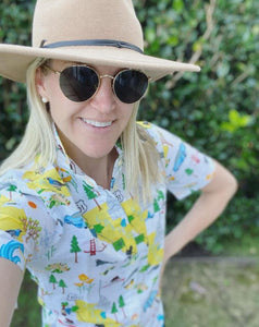Women's button-up shirt in California map print.