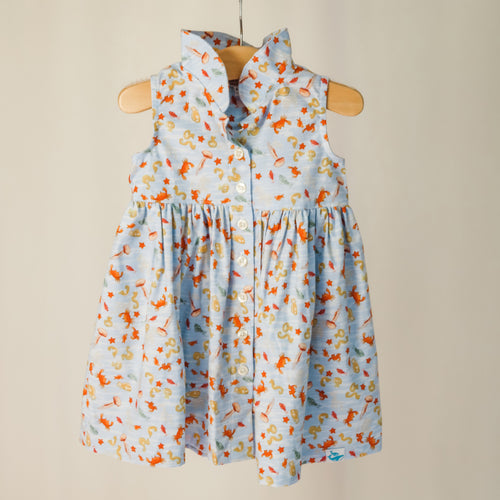 Children's sleeveless shirt dress with collar in