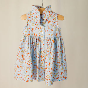 "Children's sleeveless shirt dress with collar in ""under the sea"" print."