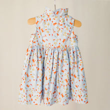 "Load image into Gallery viewer, The back of the children's sleeveless shirt dress with collar in ""under the sea"" print."