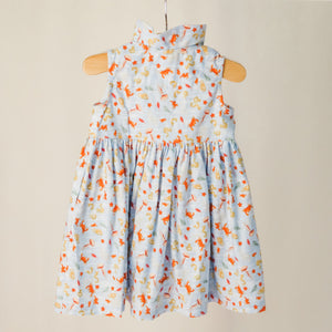 "The back of the children's sleeveless shirt dress with collar in ""under the sea"" print."