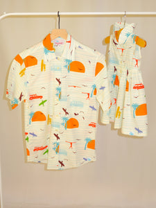 Women's Rancho shirt in Surf's Up (cream)