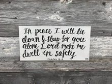 Load image into Gallery viewer, Dwell in Safety - Psalm 4:8, 10x20 Canvas