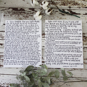 Custom Wedding Vows Calligraphy - Deposit To Order