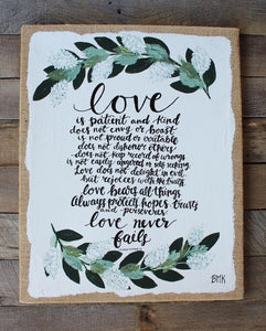 Love & Greenery - 1 Corinthians 13, 16x20 Burlap Canvas