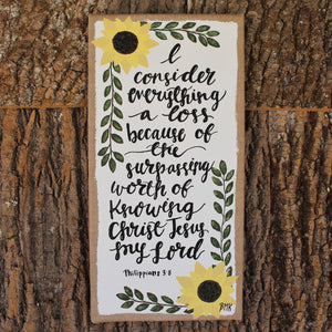 Surpassing Worth - Philippians 3:8, Sunflowers 10x20 Burlap Canvas