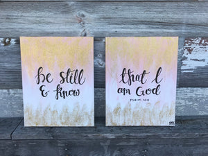 Be Still & Know Set of 2 - Psalm 46:10, 11x14 Canvas Set