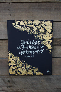 God is Light - 1 John 1:5, 8x10 Canvas with Gold Leaf