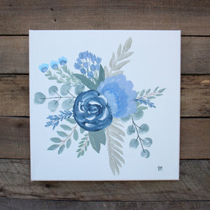 The Garden, Pair of Blues I & II - Genesis 1:11-12, 12x12 Canvas Set