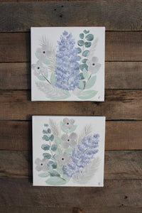 Wisteria + Greenery - The Garden Collection, Pair of Purples I & II - Genesis 1:11-12, 8x8in Canvas Set