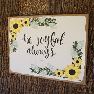Be Joyful Always - 1 Thessalonians 5:16, 16x20 Burlap Canvas