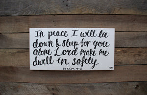 Dwell in Safety - Psalm 4:8, 10x20 Canvas