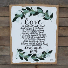 Load image into Gallery viewer, Love & Greenery - 1 Corinthians 13, 16x20 Burlap Canvas