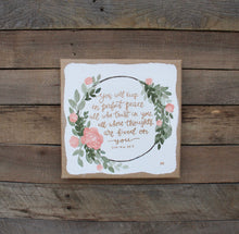 Load image into Gallery viewer, Perfect Peace - Isaiah 26:3, 10x10 Burlap Canvas