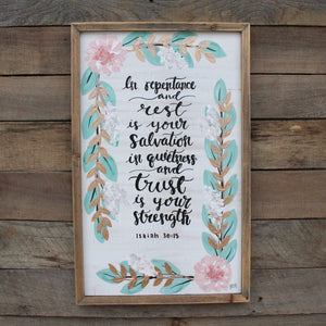 Repentance & Rest - Isaiah 30:15, 12x19 Wood Panel