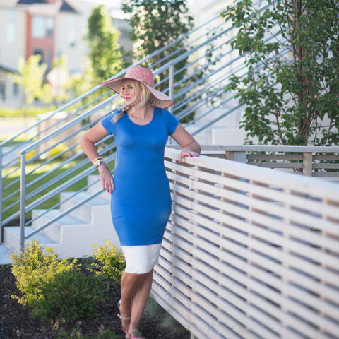 AUDREY DRESS, BLUE WITH WHITE COLOR BLOCK