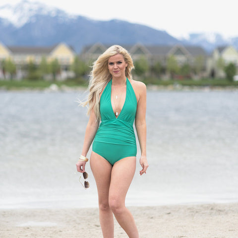 MONROE ONE PIECE SWIMSUIT, COOL GREEN
