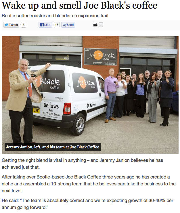 Joe Black Coffee in The Liverpool Daily Post